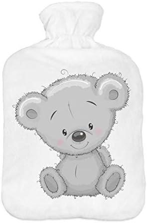 [Gesponsert]Wärmflasche mit Pullover Bezug 2 Liter Bettflasche mit schönen Fleece-Druck Bezug Gummi Wärmflasche mit Deckel...
