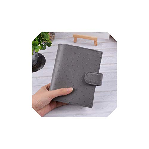 Notebook Leather Rings Notebook Brass Binder Mini Agenda Organizer Cowhide Diary Journal Sketchbook Planner,Ostrich Gray,A7 Cover 142x115mm