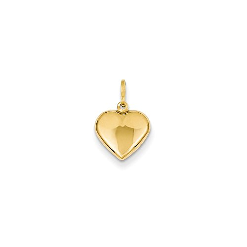 Solid 14k Yellow Gold Puffed Love Plain Heart Charm Pendant Pendant (15mm x -