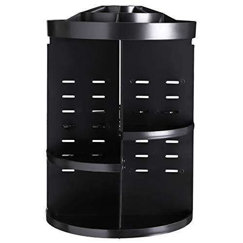 SONGMICS 360 Degree Rotating Makeup Organizer Adjustable Countertop Cosmetic Storage Box Display, Large Capacity, 7 Layers Brushes Lipsticks Toner, Black UJMU15BK, Round,