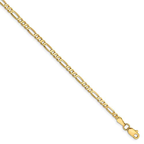 14k Yellow Gold 2.75mm Flat Link Figaro Bracelet Chain 7 Inch Fine Jewelry Gifts For Women For - 14 Figaro Bracelet Mm