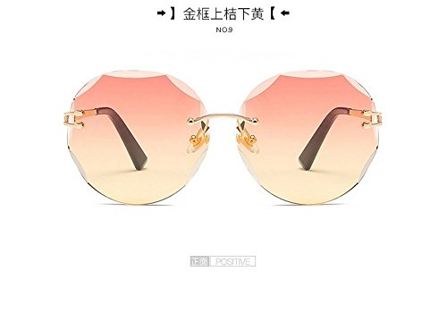 Gafas Moda Sol Transparentes Gafas Redondo Films Enmarcadas el Gafas marco Golden Plana Sol en naranja Blanca Hombre Cerco De Mar dorado Sin De Amarillo De JUNHONGZHANG EvqXw55