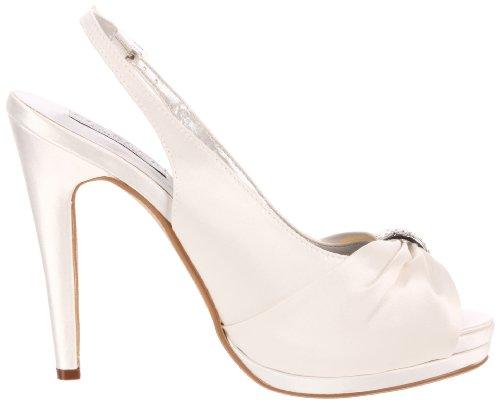 Liz Rene Couture Damessandielle Platform Pump White Silk Satin