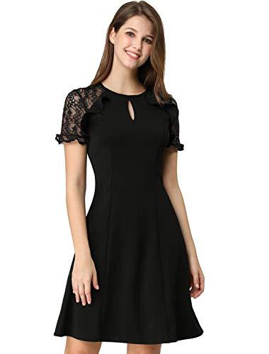 Flounce Lace Dress (Allegra K Women's Ruffle Keyhole Lace Sleeve Fit and Flare Dress XL Black)