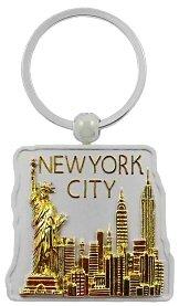 New York Keychain - Jumbo Gold/Square, New York Keychains, New York City Souvenirs
