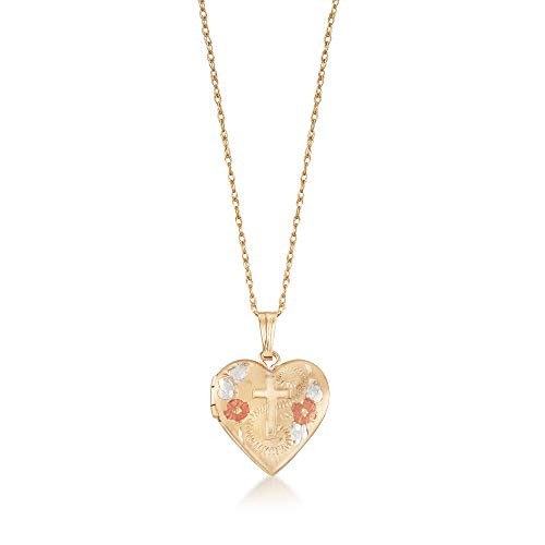 Ross-Simons Child's 14kt Tri-Colored Gold Floral Cross Heart Locket Necklace