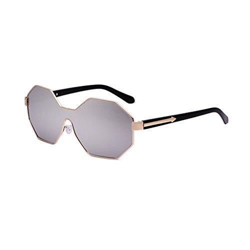 Frame Polygonal Sunglasses Couleur De WANGXIAOLIN Silver Rouge Lunettes Soleil Pour Personnalisées Large Hommes wETWt