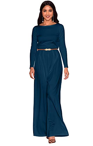 KOH KOH Plus Size Women Long Sleeve Sleeves Wide Leg with Belt Formal Elegant Cocktail Party Fall Pant Suit Pants Suits Jumpsuit Jumpsuits Romper Rompers, Blue Teal XL 14-16 (2) ()