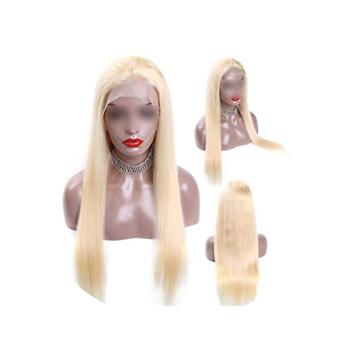 Queen 1B 613 Blonde Ombre Color Remy Brazilian Straight Wig Long Pre Plucked Glueless Lace Front Human Hair Wigs For Black Women,#613,8Inches,150% -