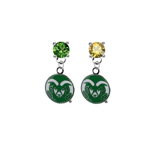 (Colorado State Rams Green & Gold Crystal Stud Post Dangle Earrings)