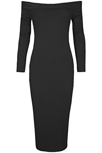 Oops Outlet Women's Plain Stretch Off the Shoulder Bardot Long Sleeve Midi Dress Plus Size (US 16/18) - Outlet Oops