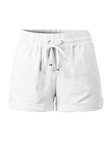 (Design by Olivia Women's Drawstring Elastic Waist Casual Comfy Cotton Linen Beach Shorts White M)