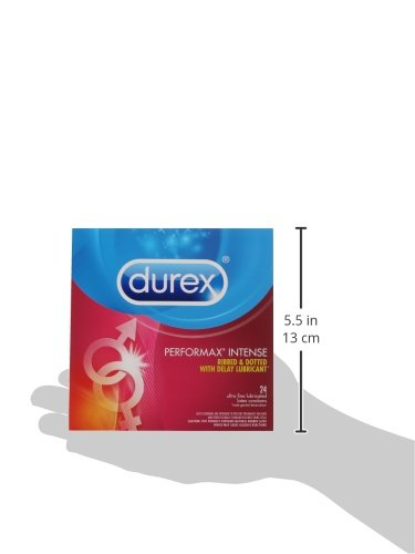 Durex Condom Performax Intense Natural Latex Condoms, 24 Count - Ultra Fine, ribbed, dotted with delay lubricant