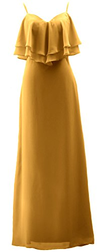 Formal Gold Chiffon Dress Party Gown MACloth Long Bridesmaid Spaghetti Straps Wedding Tqxaw8Bv