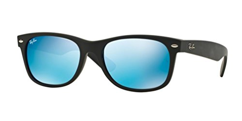 Ray-Ban New Wayfarer Sunglasses (RB2132) Black Matte/Blue Plastic,Nylon - Non-Polarized - - New 55mm Size Ban Ray Polarized Wayfarer Rb2132