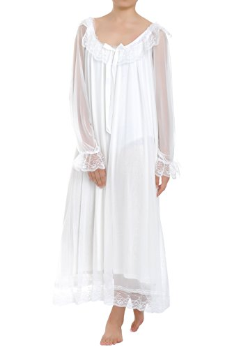 Latuza Women's Long Sheer Vintage Victorian Nightgown with Sleeves, White, Large