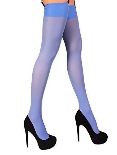 Thigh High Opaque Microfiber Stockings for Garter and Suspender Belt S - XL (Light Blue, ()