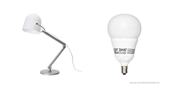 IKEA SVIRVEL lámpara de trabajo, color blanco y ledare bombilla LED E12, intensidad regulable, globo ópalo: Amazon.es: Iluminación