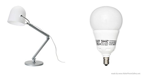 IKEA SVIRVEL lámpara de trabajo, color blanco y ledare bombilla LED E12, intensidad regulable, globo ópalo: Amazon.es: Iluminación