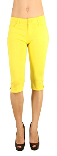 Colored Shorts Slim Soft Stretch Bermuda - Sexy, Cute Multiple Colors - Shade Yellow - Waist L