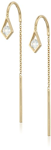 Ron Hami Aquamarine Threader Drop Earrings 14k Yellow Gold Threader Earrings