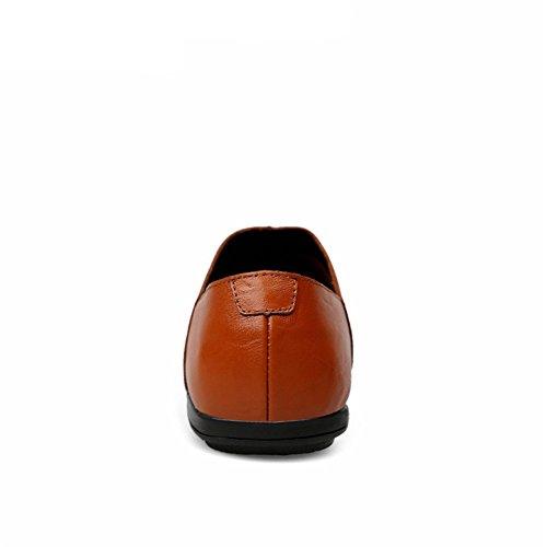 Conducción Hombre Estilo Rojo Zapatos Cuero Negocios Exquisito Marrón Británico Ponerse Casual Mocasines tqx4YXaO
