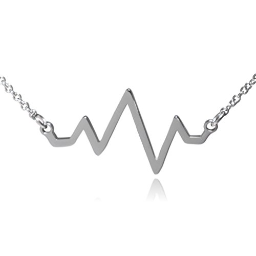 Heart Beat Pulse Stainless Steel Necklace (Steel)