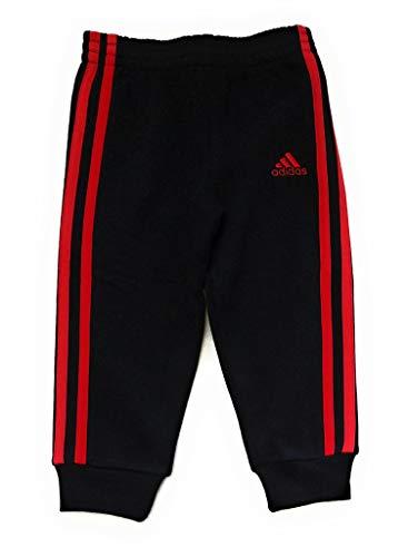 adidas Little Boys Fleece Athletic Training Sweatpants (3T Black/Red Stripe)