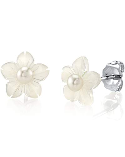 THE PEARL SOURCE 3-4mm Button-Shape White Freshwater Cultured Pearl on Mother of Pearl Flower Blossom Stud Earrings for Women