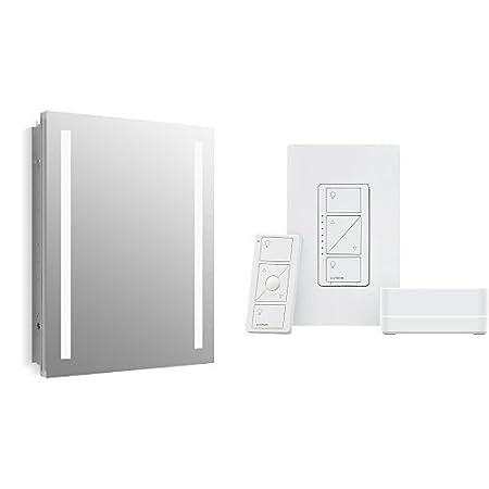 KOHLER 99007-TL-NA Verdera Lighted Medicine Aluminum Cabinet with Lutron P-BDG-PKG1W Caseta Wireless Smart Dimmer Kit - - Amazon.com