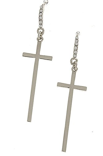 KARMAS CANVAS SIMPLE CROSS ORNATE DROP EARRINGS