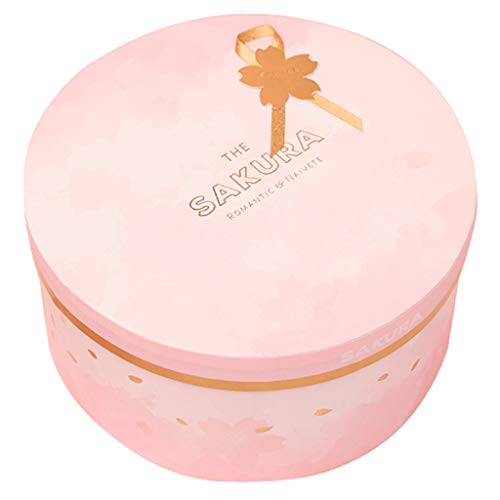 Nameplate Round - Pink Sakura Gift Box Round Gold Nameplate Accessories Holiday Birthday Romantic Gift Wrap