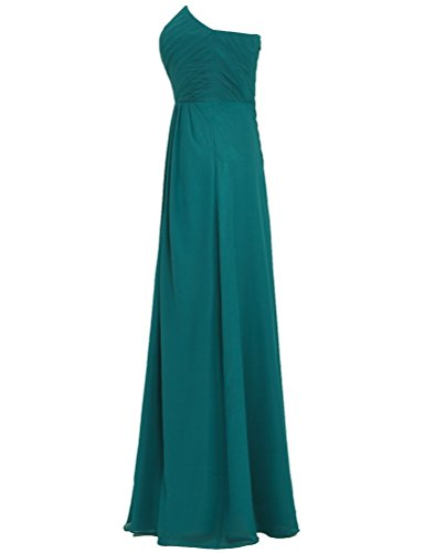 Shoulder Teal Chiffon s Prom Off Long ANTS Bridesmaid Women Gown Dress vRcWIpt