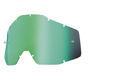 100% Racecraft/Accuri/Strata Anti-Fog Replacement Lens With Posts (GREEN MIRROR) by 100%