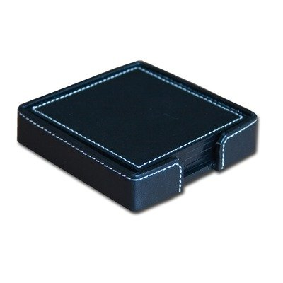 Dacasso A1845 1400 Series Econo-Line Eco-Friendly Leather Four Square Coasters with Holder in Black