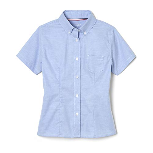 - French Toast Little Girls' Short Sleeve Button Down Oxford With Darts, Light Blue, 6