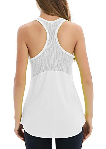 - Duppoly Women's Sleeveless Workout Tops Backless Yoga Shirts Breathable Mesh Yoga Tops Open Back Workout Shirts Activewear Sport Tanks Loose Fit Workout Tank Tops Womens Fitness Yoga Tank White M