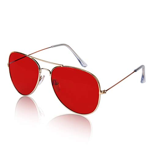 Woman's Womens Pilot Police Unisex Fashion Sunglasses Sunglass Gold Guys Red