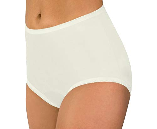 Women's Ivory Classic Nylon Panties Size 6 (3-Pack) - Cut High Brief Panties Nylon