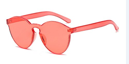 My Shades - Transparent Solid Color Retro Round Sunglasses - Red All Sunglasses Round Clear
