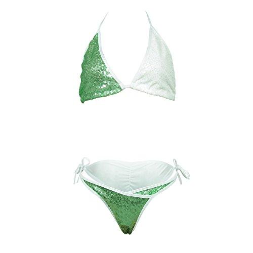 Mujeres de Moda Traje de baño Halter Bañador Conjunto Traje de baño Lentejuela de Bling Traje de baño Bikini Verde