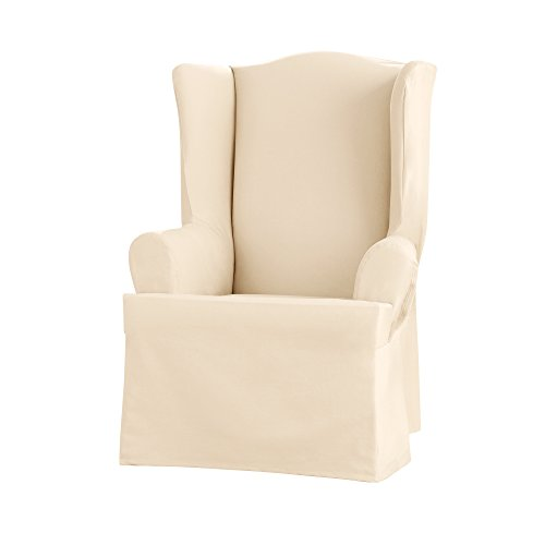 Cotton Wing Chair Slipcover - Sure Fit Heavyweight Cotton Duck Wing Chair Slipcover - Natural (SF41834)