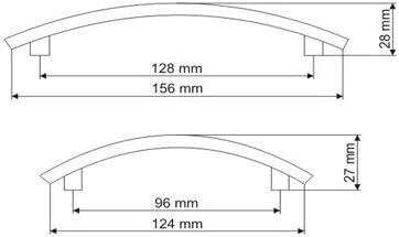 M/öbelgriff K/üchengriff Schubladengriff Edelstahl Optik Lochabstand 128mm