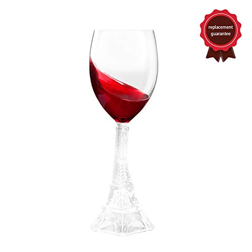 Eiffel Tower Wine Glass Brings a Little Touch of French Class Perfect Combination of Romance and Art Unique and Elegant Design is The Great Gift for Christmas Birthday Housewarming Party(Set of 2)