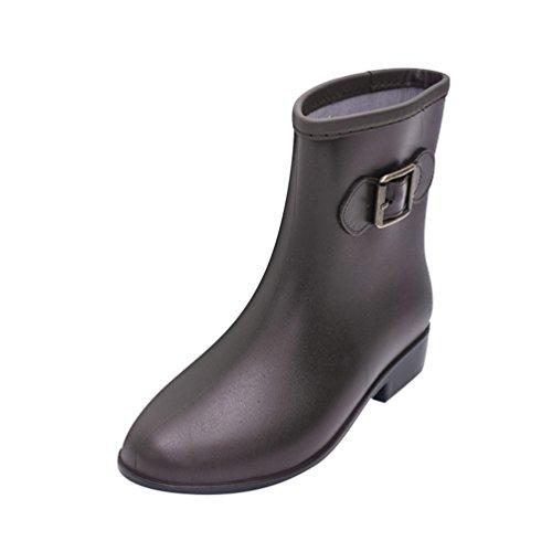 Xinwcang Women's Lightweight Gardening Wellington Wellies Boots Waterproof Ladies Casual Rain Shoes Brown