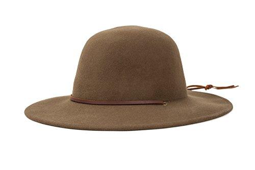 Brixton Men's Tiller Wide Brim Felt Fedora Hat, Light Olive, (Brim Olive)