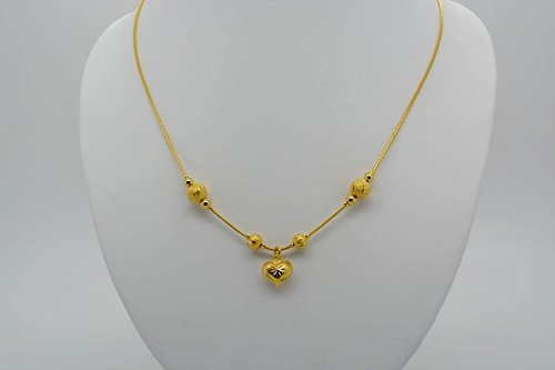 Gorgeous 22k 23k 24k Yellow Gold Plated Women Round Beads Heart Drop Necklace 18