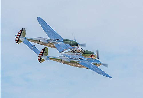 - Yilooom Silver WWII P-38 Lightning - Plane Poster Print - Military Warbird Photo Art
