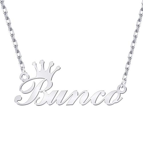 Dreamdecor Personalized Name Necklace with Crown, Sterling Silver Custom Nameplate Necklace Charm Jewelry Gift for Christmas -