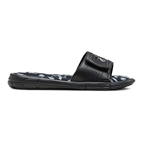 Under Armour Boys' Ignite Impact V Slide Sandal, Black (001)/Pitch Gray, 1 M US Little Kid (Under Armour Slide Sandals Youth)